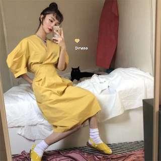 良良家 夏季新款韓國chic氣質純色百搭V領收腰顯瘦泡泡袖連衣裙女