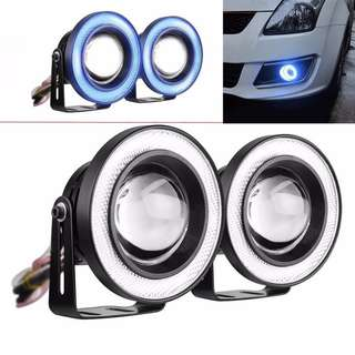 Fog Lamp Light COB Led with Angel Eyes Halo Ring Light 3200LM Universal