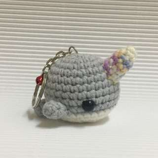 Chubby Narwhal Keychain (Grey)