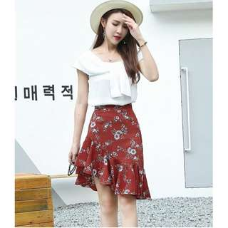 Red Floral Asymmetrical Midi Skirt