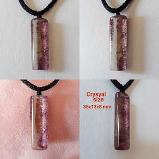 ✨Special Offer✨ Very Nice, Natural purple Lodalite pendant (紫幽灵吊坠). With rope chain.