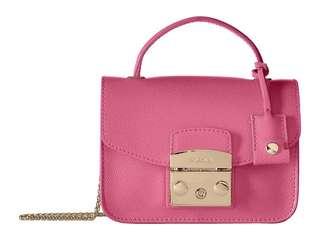 FURLA top handle in pink metropolis mini cross body bag