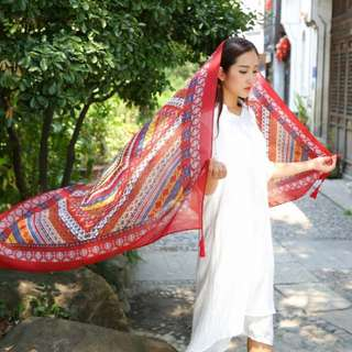 Red ethnic print scarf  / beach scarf