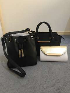 Collection of bags - side bag, clutch, tote