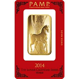 PAMP Lunar Series 2014 Gold Bar - Year of the Horse - 100 g