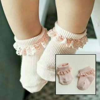 Peach Lacey Baby/Kids Socks