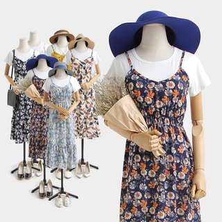 ♡ 2 Piece Floral Summer Dress + White Top