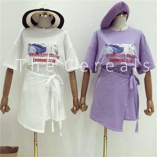 TC2273 Korea 2 Pieces Printed Shirt + Tight Up Ribbon Skirt (White,Purple)