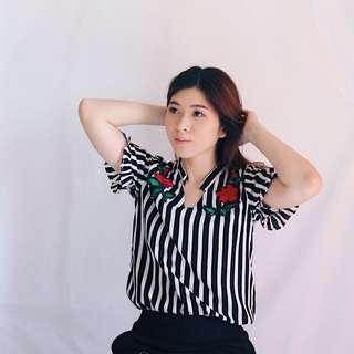 {Baju Lebaran} Blouse Atasan Wanita Motif Bunga Mawar Bordir Baju Kerja Blus Baju Murah