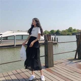 Tiered pleated skirt