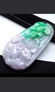 🍍Big! Grade A 冰糯 Sunbright Green Goldfish, Coins and Lotus Flower 金鱼, 财源滚滚, 荷花 Jadeite Jade Pendant/Display🍍