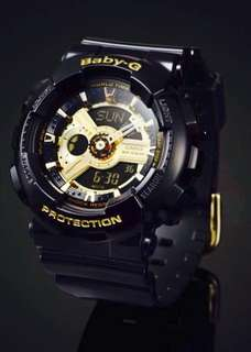 BEST🌟SELLING BABYG CASIO DIVER SPORTS WATCH : 1-YEAR OFFICIAL WARRANTY : 100% ORIGINALLY AUTHENTIC BABY-G Shock Resistant in DEEP BLACK GLOSSY Added With GOLD ABSOLUTELY TOUGHNESS Best For Most Rough Users & Unisex: BA-110-1ADR / BA110