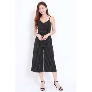 [PO] Stripes bow pocket jumpsuit