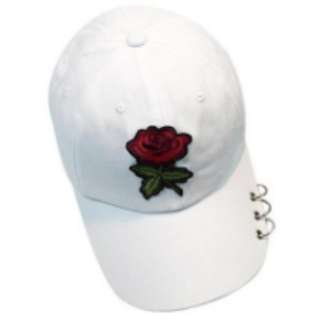 Rose Embroidery Snap-back Cap with Iron Ring