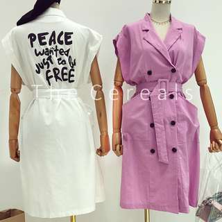 TC2276 Korea Wording Belted Outer / Dress (Purple,White,Green)