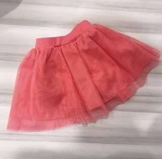 🚚 女童女寶粉橘色網紗短裙 紗裙