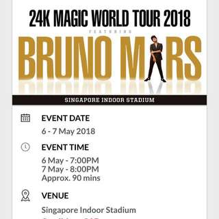 Exchanging Bruno Mars Standing Tickets for CAT3/10 tickets