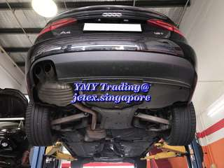 Audi A4 B8 1.8T (Audi A4 club) Upgrades Jetex LTA approval quad tip cat back system with 2.75 diameter piping with jetex high flow performance drop in air filter 99% filtration at 2.8 microns & quad diffuser & heat shield