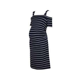 Maternity Striped Dress Navy Size M
