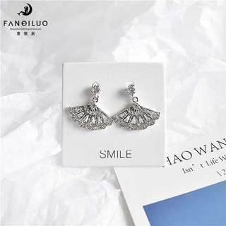 S925 Silver Diamond Fan Earrings