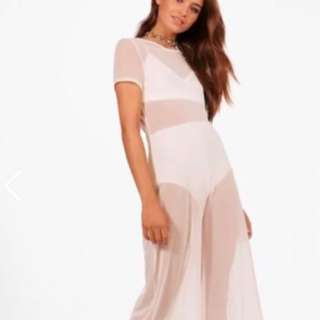 Festival Mesh White Onepiece Jumpsuit Flare Bottom Evening Wear