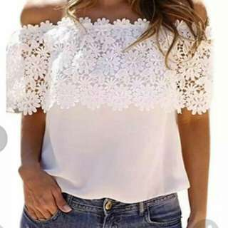 White Lace Off Shoulder Top