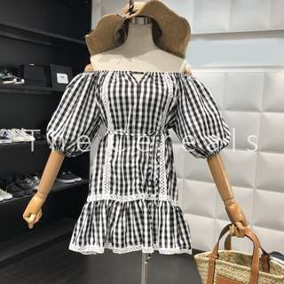 TC2279 Korea Shoulder Off Checkers Dress