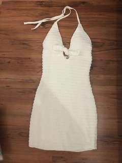 Halterneck crochet knitted dress white