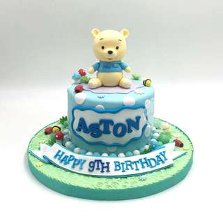 Baby Pooh in blue polka dots theme cake Singapore #singaporecake