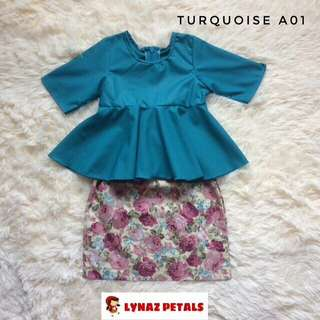 NEW COLOR: Turquoise Baby Peplum+Skirt