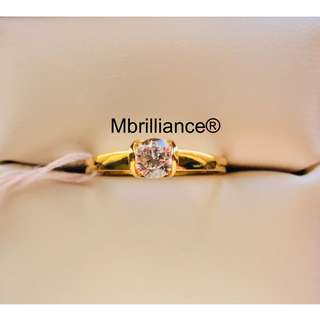 Solitaire Cz stone ring 22k / 916 solid gold Mbrilliance®️