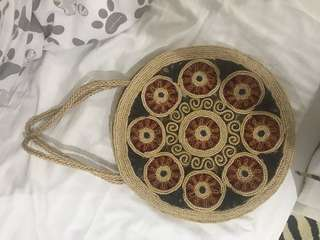 Repriced!! Banig/ rattan bali ethnic round bag