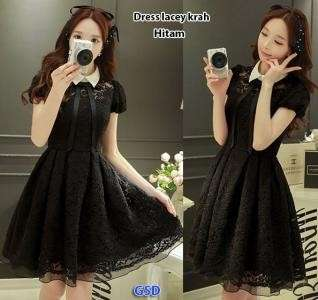Dress lacey kerah hitam
