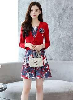 2-Piece: Red OL Short Jacket with Floral Tank Dress (M / L / XL / 2XL) - OA/YZD111734