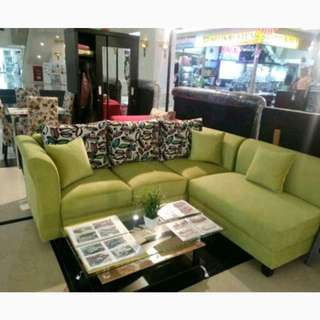 Sofa L Minimalis Hijau Dijual Kredit Tanpa DP