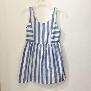 Forever 21 藍白質條紋文藝清新無袖洋裝 s號 100%棉