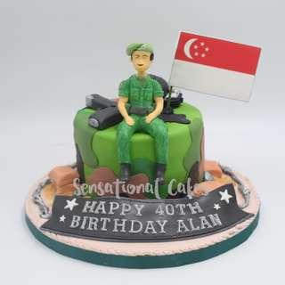 Military soldier army bullet gun for Man theme cake Singapore #singaporecake
