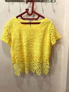 Yellow Lacey Top