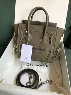 Celine Nano in Taupe Drummed Leather