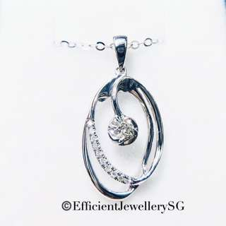 18K 750 White Gold Ovey Necklace