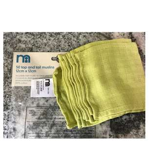 12 pcs top and tail cotton muslins Green