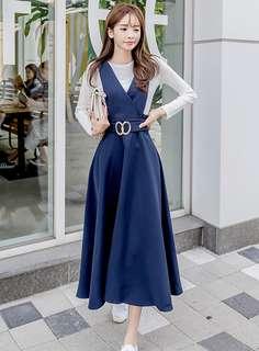 2-Piece: Korean T-Shirt with V-Neck High Waist Long Dress (S / M / L / XL) - OA/XKD101835