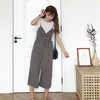 Stripes Jumpsuit + T-shirt 1set