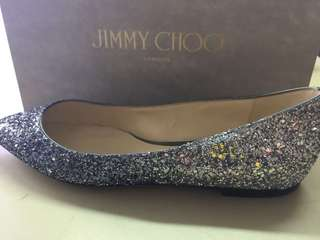 Jimmy Choo Sparkling Flats 100% New and Real Size EU 38.5