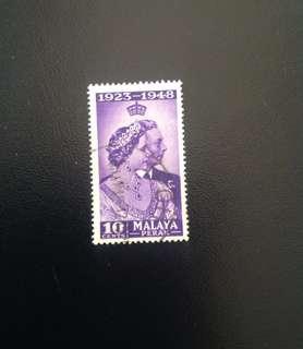 Perak 1948 Royal Silver Wedding 10c Used (0431)