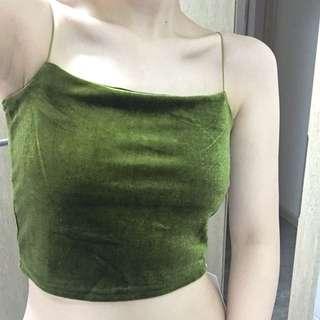 🚚 草綠吊帶絲絨平口上衣