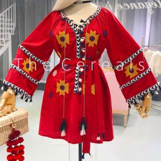TC2283 Korea Bohemian Style Red Dress With Sash