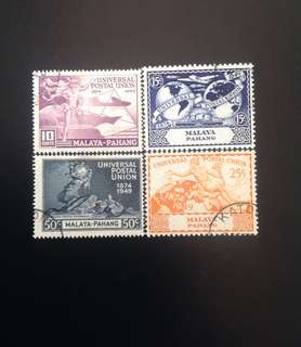 Johore 1949 75th Anniversary of UPU 4V Set Used CV £10 (0431)