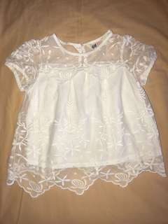 H&M 2-3y Off white Lace Babydoll Top with inner