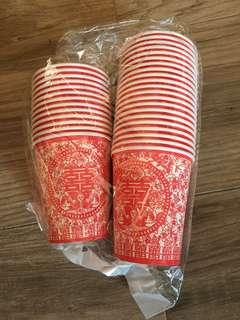 中式婚宴敬茶儀式紙杯一袋(鴛鴦花紋厚裝杯)